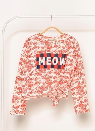 Morhipo Kids Meow Baskılı Çiçek Desenli Sweatshirt Pembe